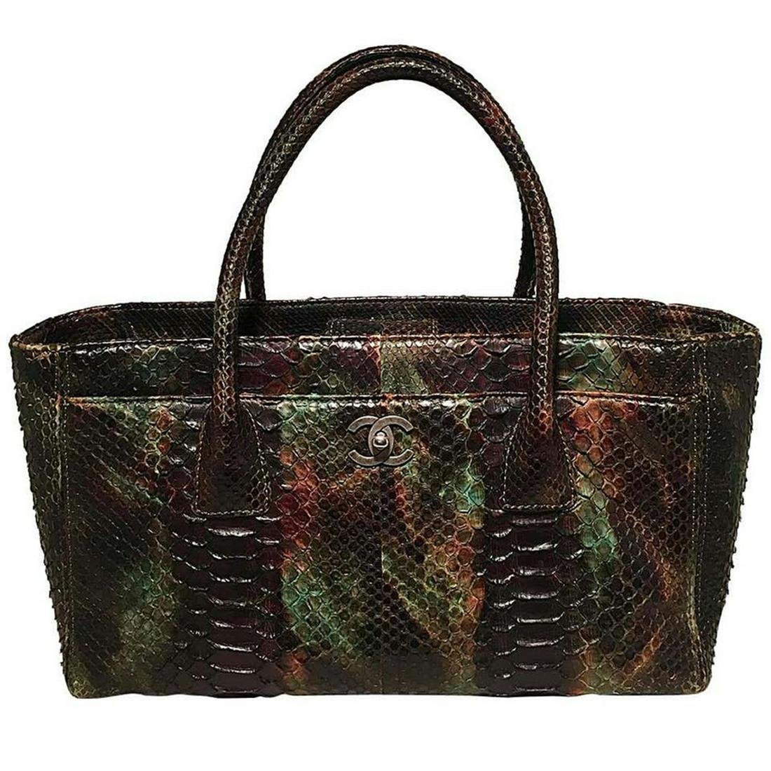 Chanel Brown & Green Python Cerf Tote Bag