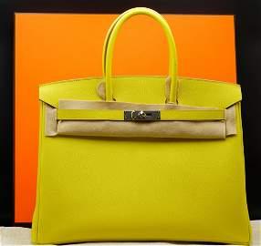 Hermes 35cm Lime Veau Epsom Leather Birkin PHW