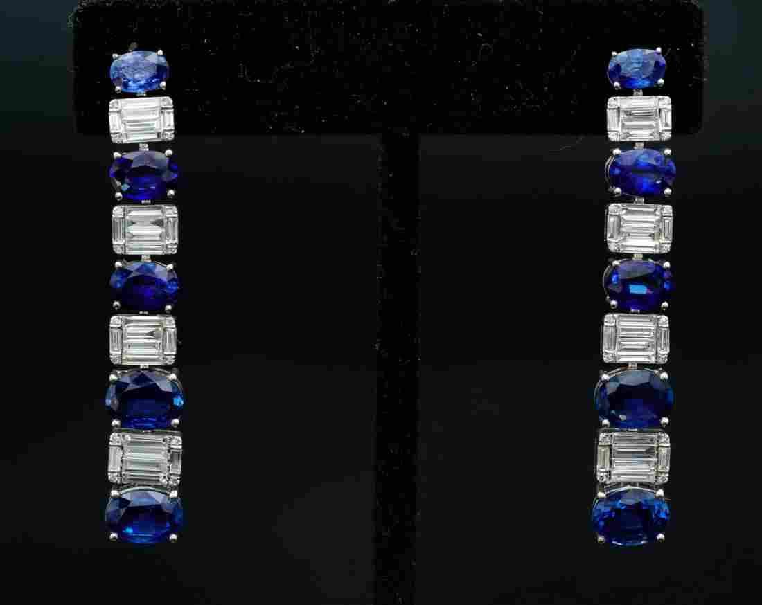 6.50ctw Blue Sapphire, 2.25ctw Diamond 18K Earrings