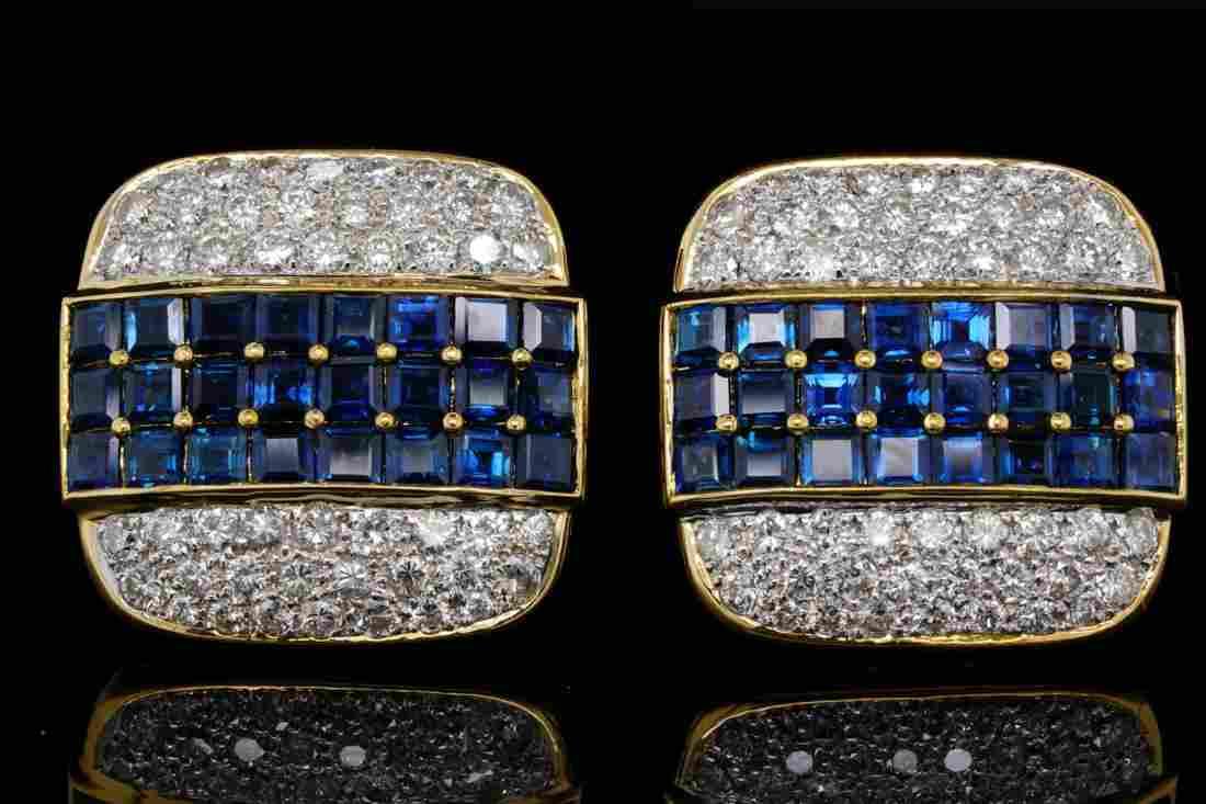 9.00ctw Blue Sapphire, 3.50ctw Diamond 18K Ear Clips