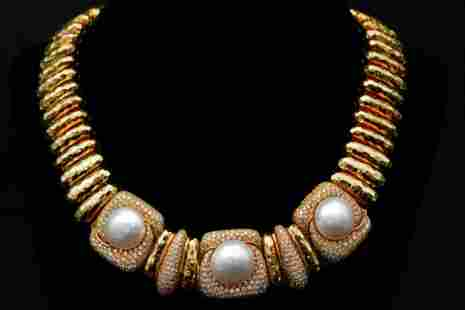 Henry Dunay 15mm-16mm Pearl & 7.00ctw Diamond Necklace