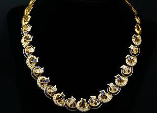 Charles Krypell 17.75ctw Sapphire & Diamond Necklace
