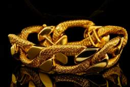"""George L'Enfant Solid 18K Yellow Gold 8"""" Bracelet"""