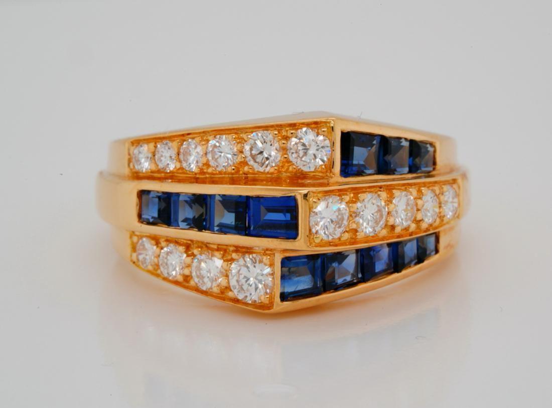 Oscar Heyman 1.40ctw Sapphire & Diamond 18K Ring