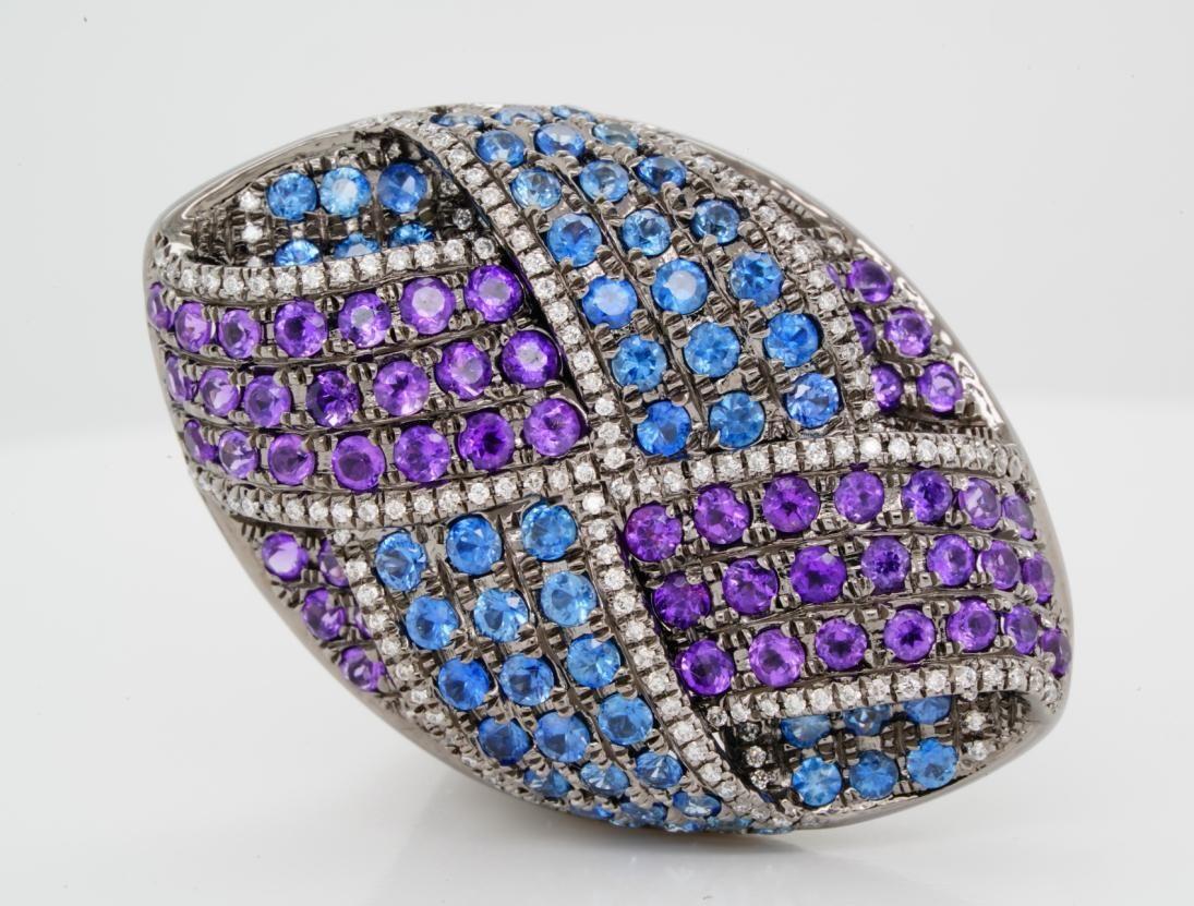 3.00ctw Blue Sapphire & Amethyst 18K Ring W/Diamonds