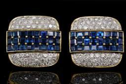 900ctw Blue Sapphire 350ctw Diamond 18K Ear Clips