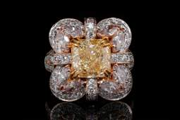 676ctw VVS2VS2 Yellow Pink  White Diamond Ring