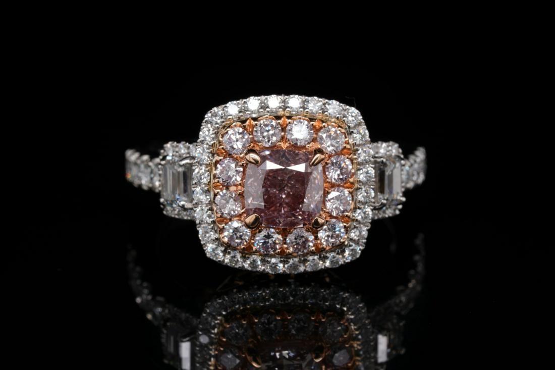 1.01ct GIA SI2 Fancy Brownish Pink Diamond 18K Ring