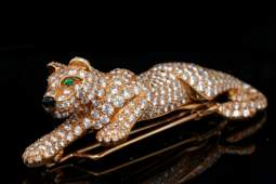 Cartier Panthere 8.00ctw Diamond 18K Vintage Brooch