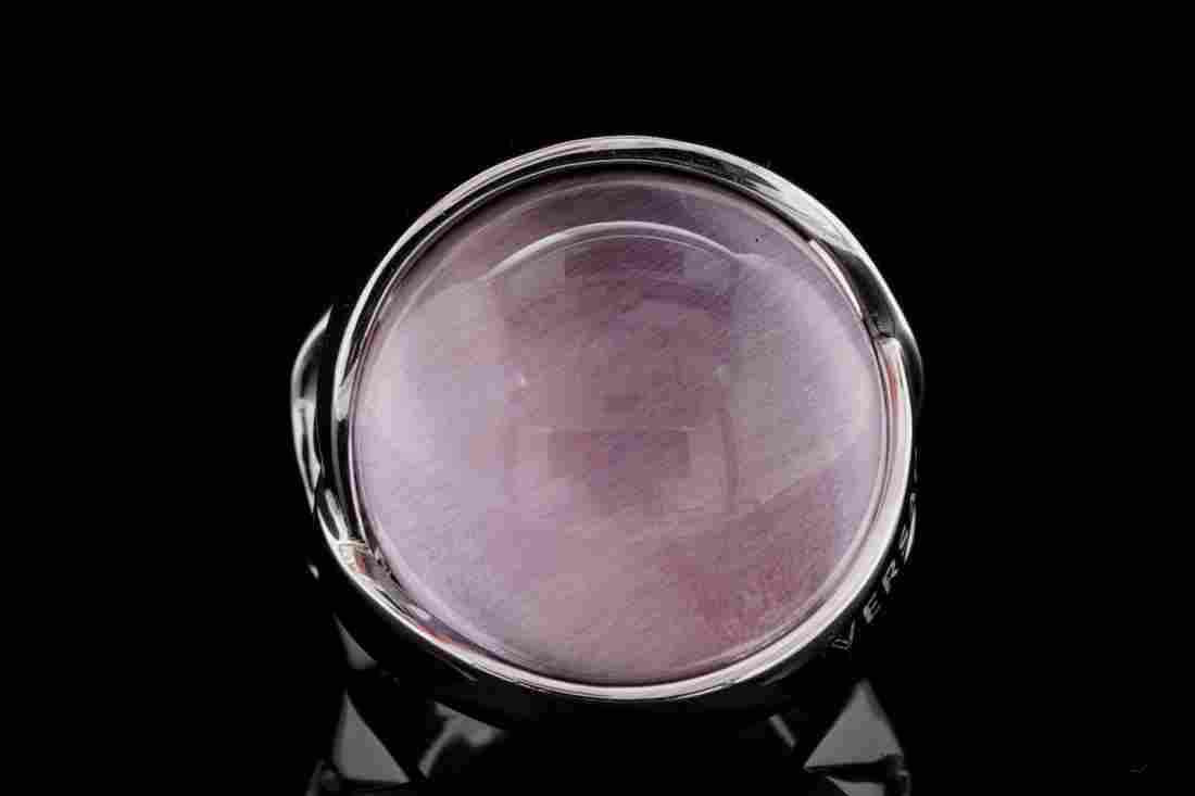 Versace 20mm Amethyst Cabochon & 18K White Gold Ring