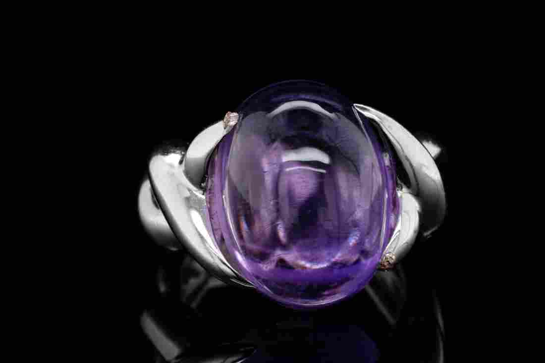 Chanel 16mm Amethyst Cabochon 18K White Gold Ring