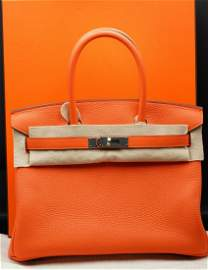Hermes 30cm Birkin in Feu Clemence Leather PHW