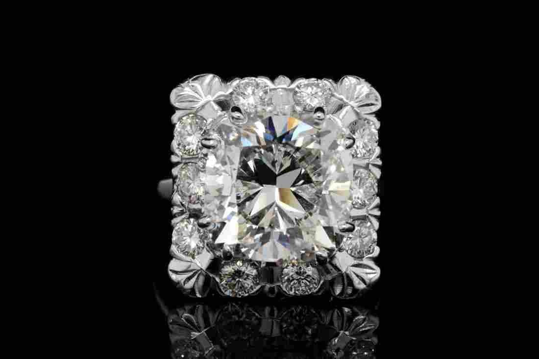 8.00ct GIA VS2/L Diamond, 1.00ctw Diamond Plat Ring