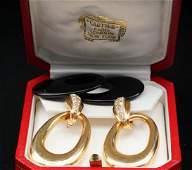 Cartier 100ctw Diamond 18K  Onyx Earrings