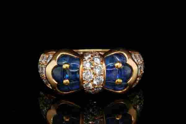 Piaget 1.25ctw Blue Sapphire & 1.00ctw Diamond Ring