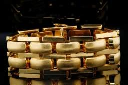 "Solid 18K Yellow Gold 7.25"" Textured Bar Bracelet"