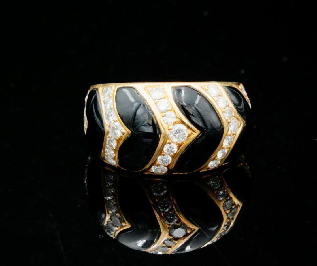 Van Cleef & Arpels 0.60ctw Diamond, Onyx & 18K Ring