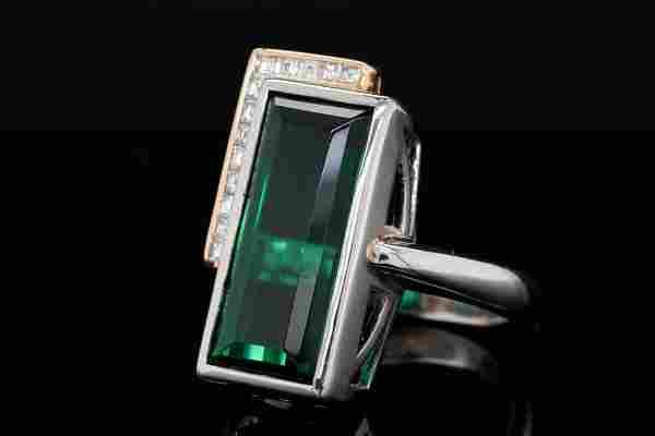 14.90ct Tourmaline, 0.35ctw Diamond Platinum/18K Ring