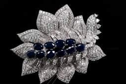 15.50ctw VS1-VS2/G-H Diamond & Blue Sapphire Brooch