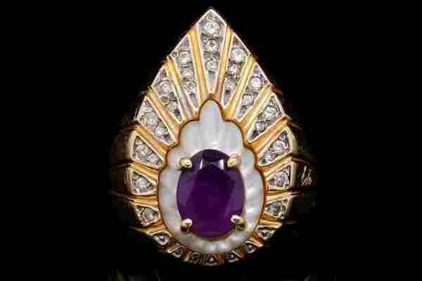 Erte 1.00ct Amethyst, 0.25ctw Diamond & 14K Ring