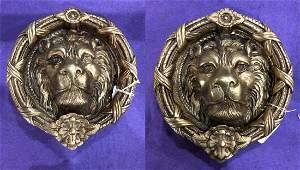 Pair of Brass Lion Head Door Knockers