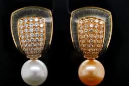 de Vroomen South Sea Pearl Diamond 18K Ear Clips