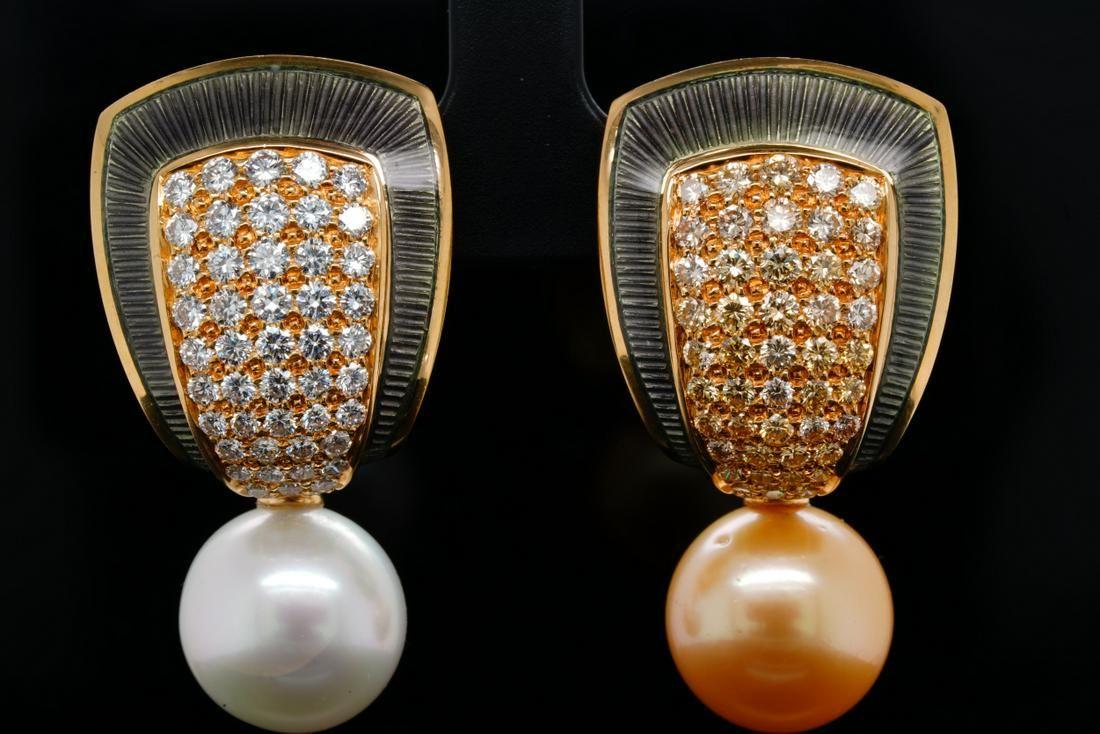 de Vroomen South Sea Pearl, Diamond, 18K Ear Clips