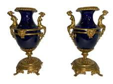 French 19th C Ormolu Mounted Sevres Style Urn Vases