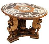 Egyptian Revival Style Marquetry Inlaid Table