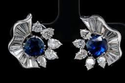 5.50ctw Diamond & 3.70ctw Blue Sapphire Ear Clips
