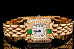 Cartier 150ctw Diamond 18K Ladies Watch WEmeralds