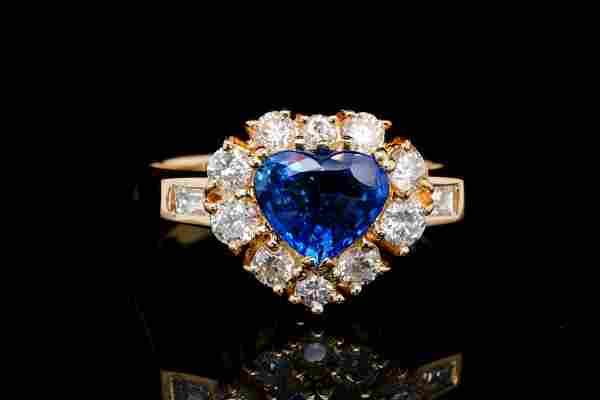 1.90ct Blue Sapphire, 1.00ctw Diamond 18K Ring