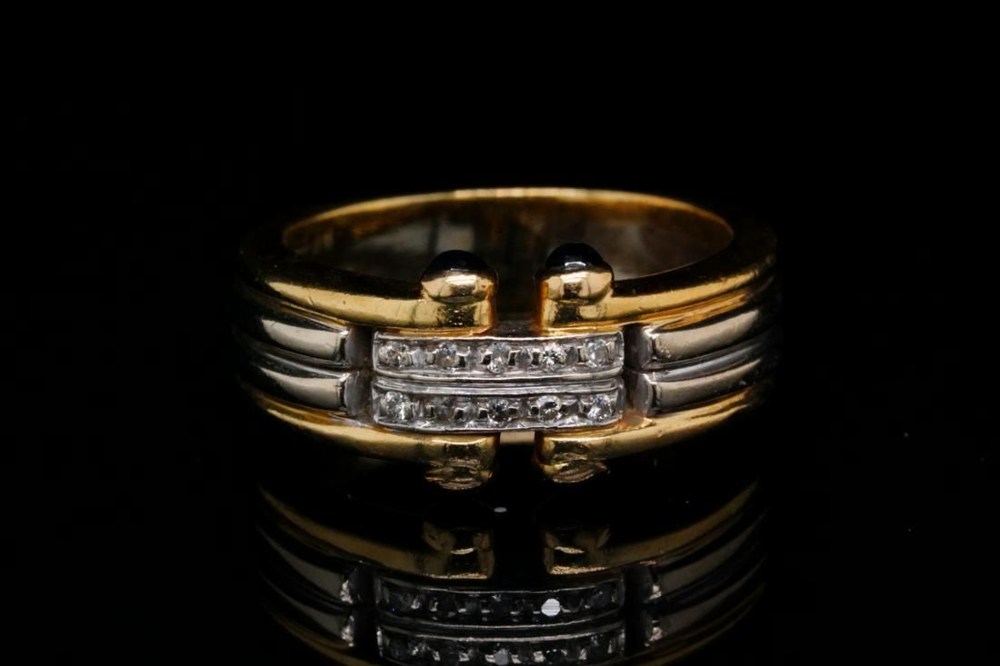 Italian 18K Ring W/Diamond & Blue Sapphire Accents