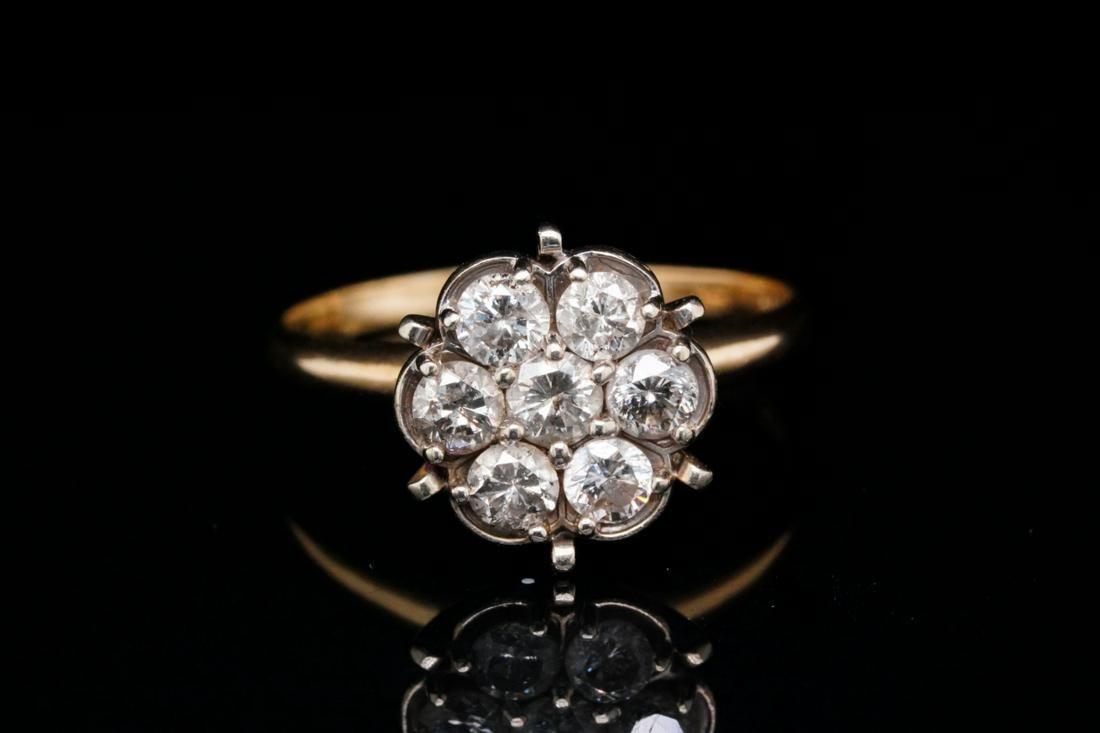 Vintage 0.85ctw Diamond & 14K Yellow Gold Ring