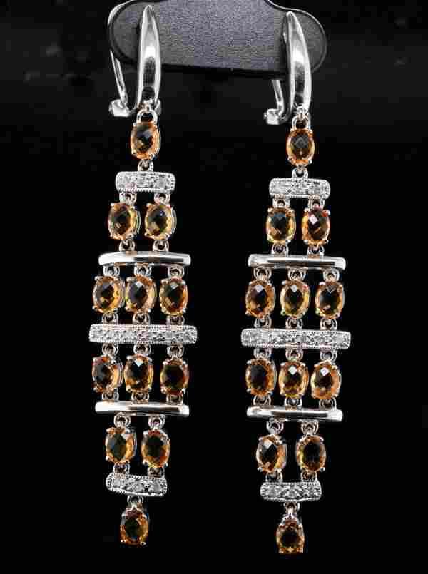3.75ctw Citrine & 14K Earrings W/Diamond Accents
