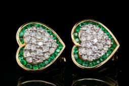 1.50ctw Diamond, 1.20ctw Emerald & 14K Earrings