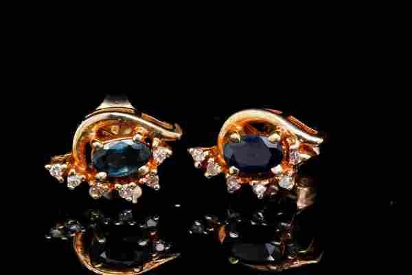 14K & 0.70ctw Blue Sapphire Earrings W/Diamonds