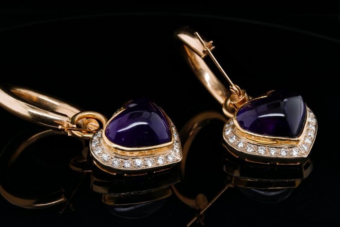 24.00ctw Amethyst, 1.20ctw Diamond 14K Earrings