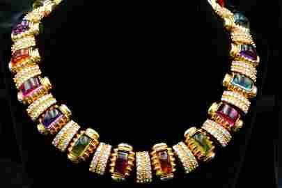 Laura Munder 71.20ctw Gemstone & Diamond 18K Necklace