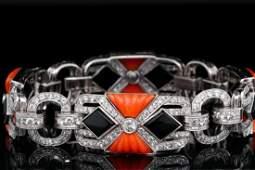 6.50ctw VS2-SI1/G-H Diamond, Coral, Onyx 18K Bracelet