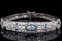 "4.00ctw Diamond, Blue Sapphire 18K 7"" Bracelet"