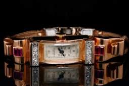 Titus Geneva 0.80ctw Ruby & Diamond 14K Watch