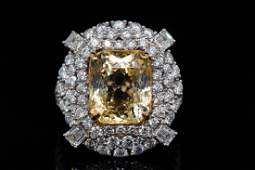 8.20ct Yellow Sapphire, 3.15ctw Diamond 18K Ring