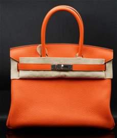 Hermes 30cm Birkin in Feu Clemence Leather W/Palladium
