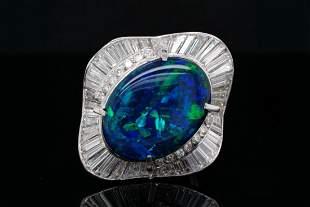 5.90ct Black Opal, 2.00ctw Diamond Platinum Ring