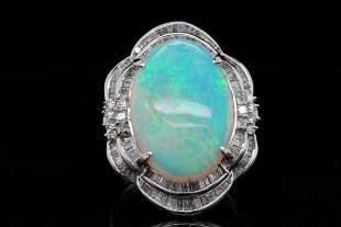 13.70ct Opal, 1.00ctw Diamond Platinum Ring