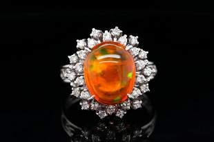 4.00ct Fire Opal, 0.40ctw Diamond Platinum Ring