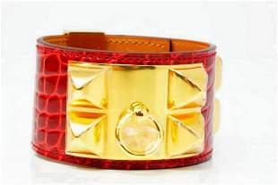 Hermes Collier de Chien Braise Alligator Bracelet