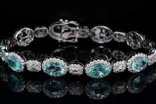 11.8ctw Paraiba Tourmaline & 4.00ctw Diamond Bracelet