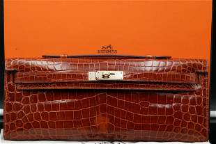 Hermes Shiny Niloticus Crocodile Kelly Pochette